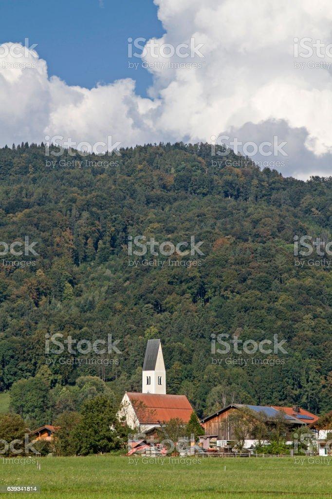 Nussdorf with parish church St Vitus stock photo