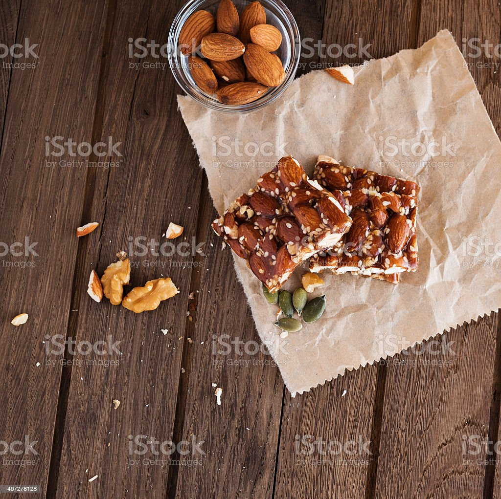 Nut bar with nuts stock photo