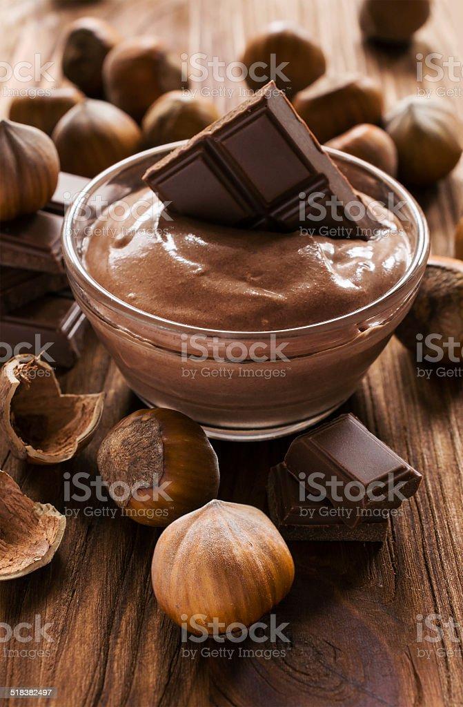 nut butter , hazelnut and chocolate stock photo