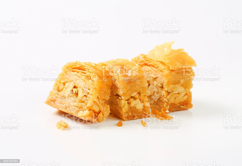 Nut filled layered pastry (Baklava) stock photo