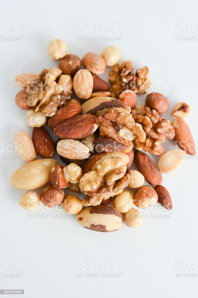 Nut mix isolated on white background stock photo