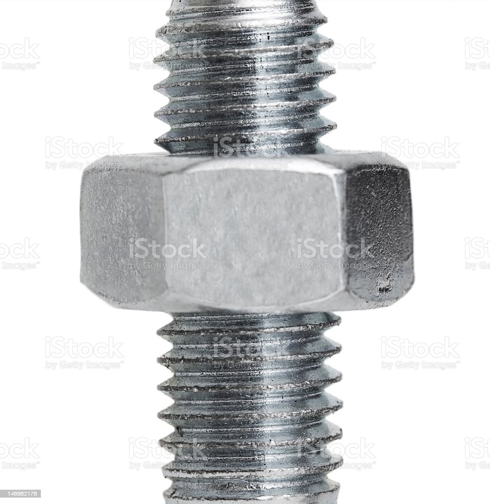 nut on a screw royalty-free stock photo