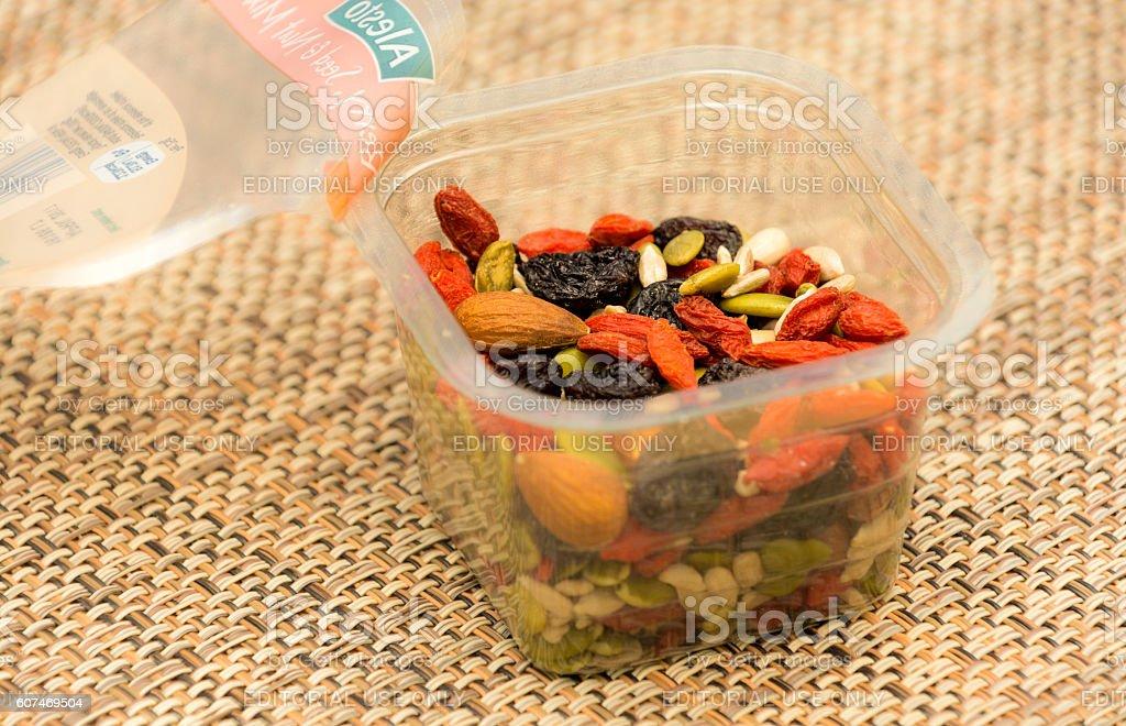 Nut, seed, goji berry and raisin mix stock photo