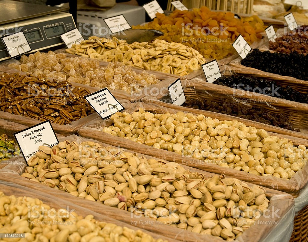 Nut stall stock photo