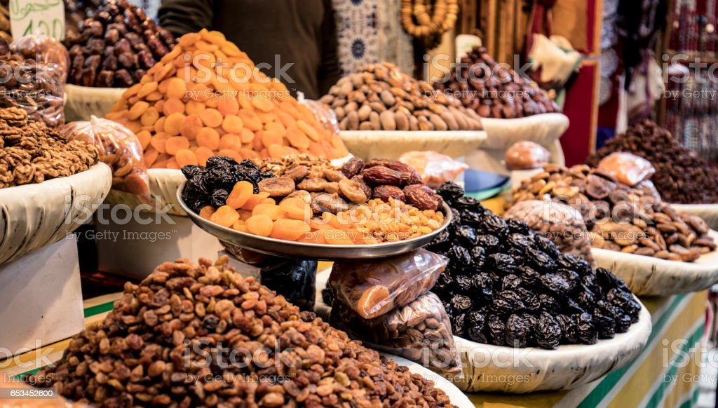 Nut store in the streets of Fez stock photo