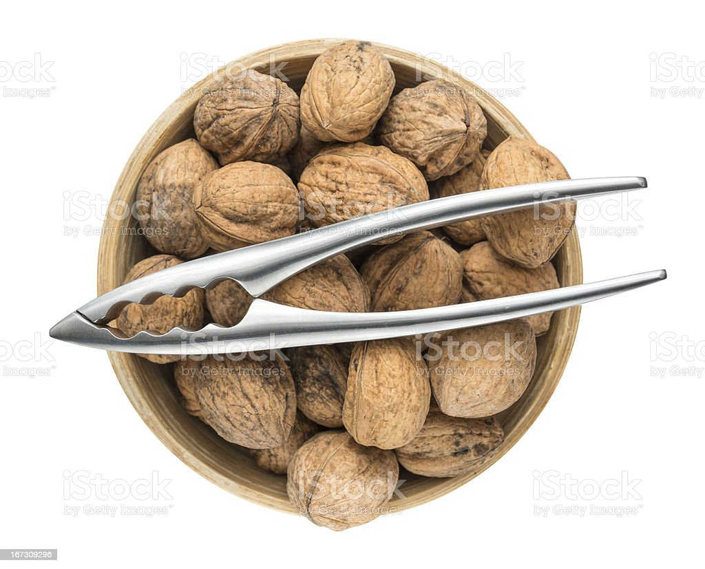 Nutcracker and organic Walnuts royalty-free stock photo
