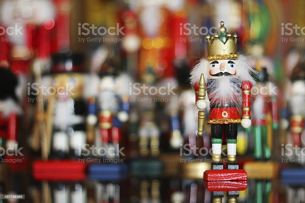 Nutcracker King in front of Christmas Toy Soldier Collection stock photo