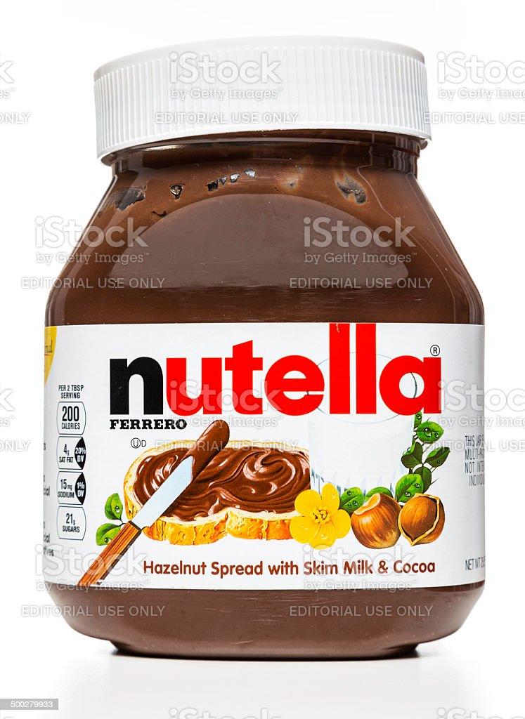 Nutella hazelnut spread jar stock photo