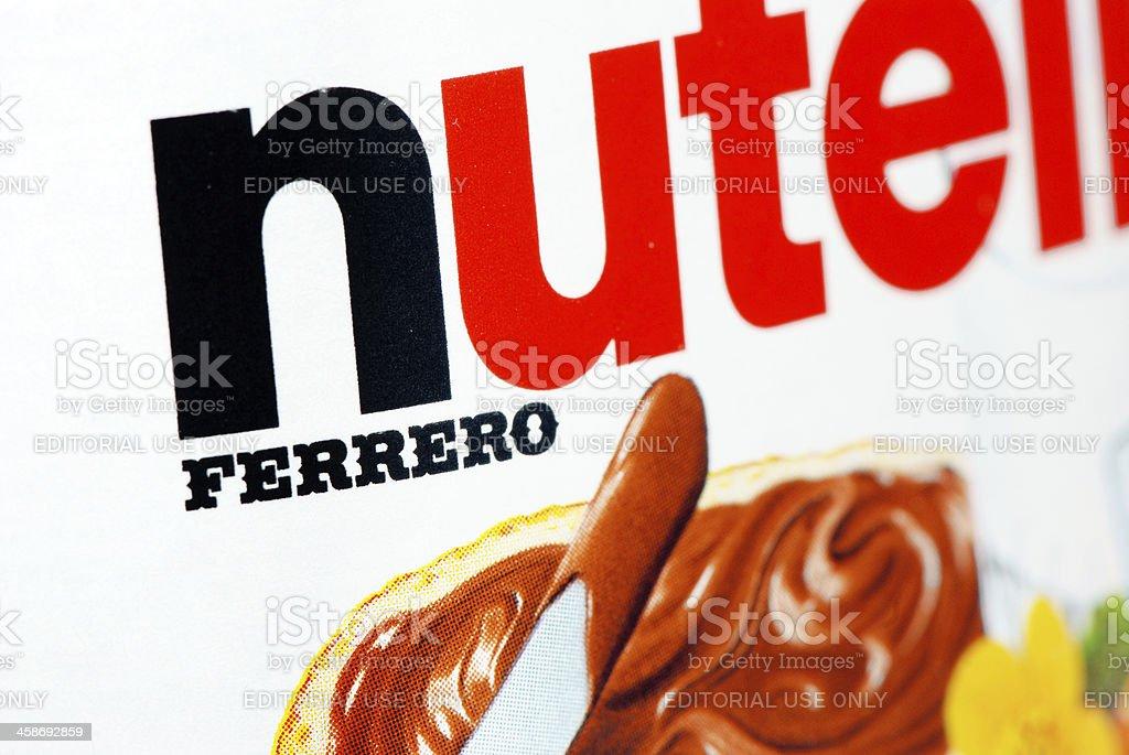 Nutella logo macro close-up. stock photo