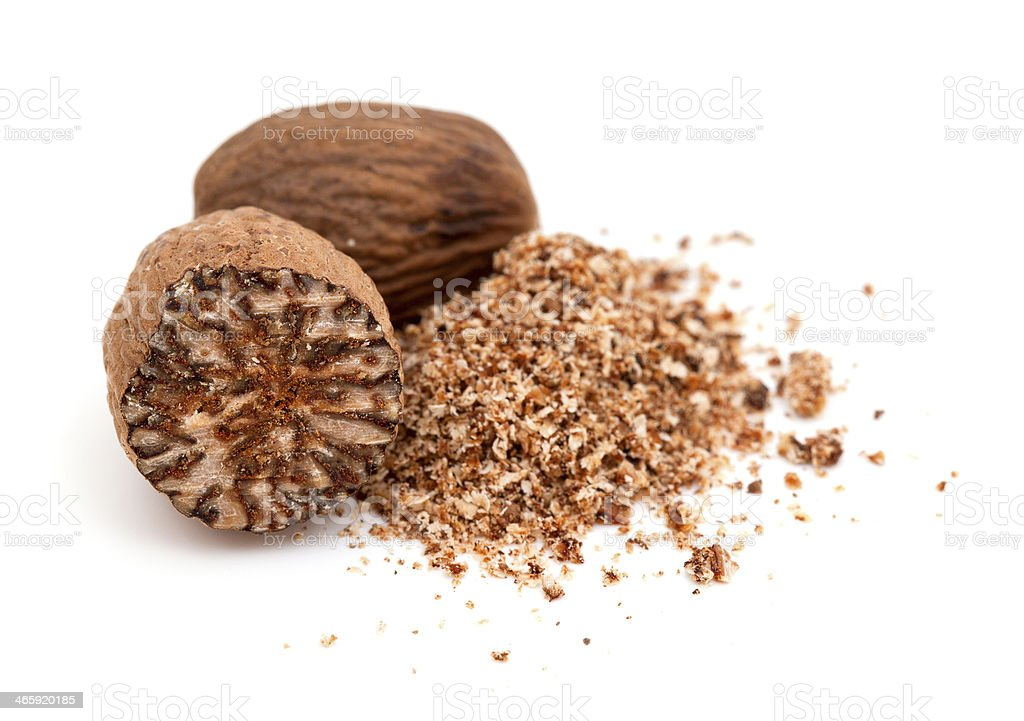 nutmeg isolated on white background stock photo