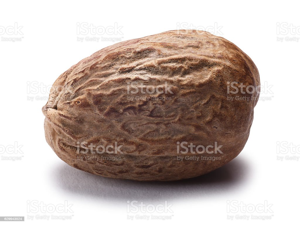 Nutmeg mace (Myristica fragrans), paths stock photo