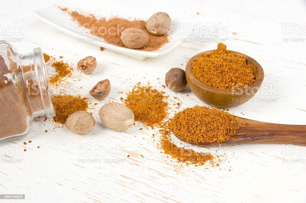 Nutmeg Spice Heaps stock photo