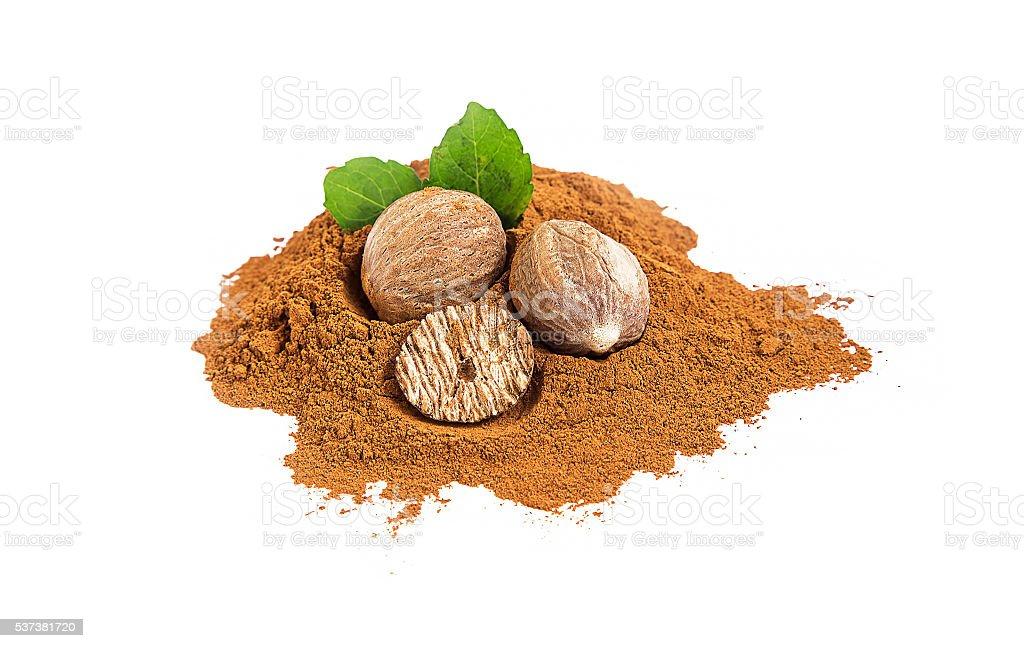 Nutmeg spice isolated stock photo