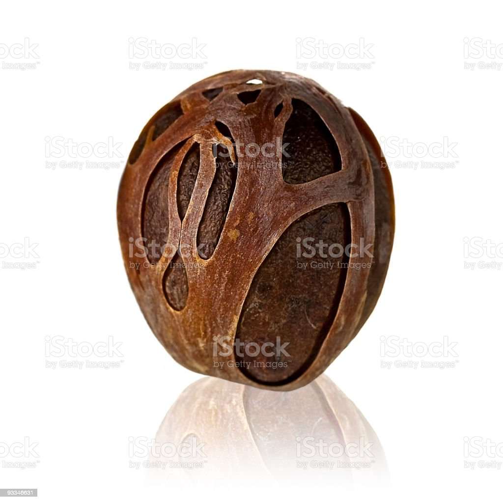 nutmeg with dried shell royalty-free stock photo