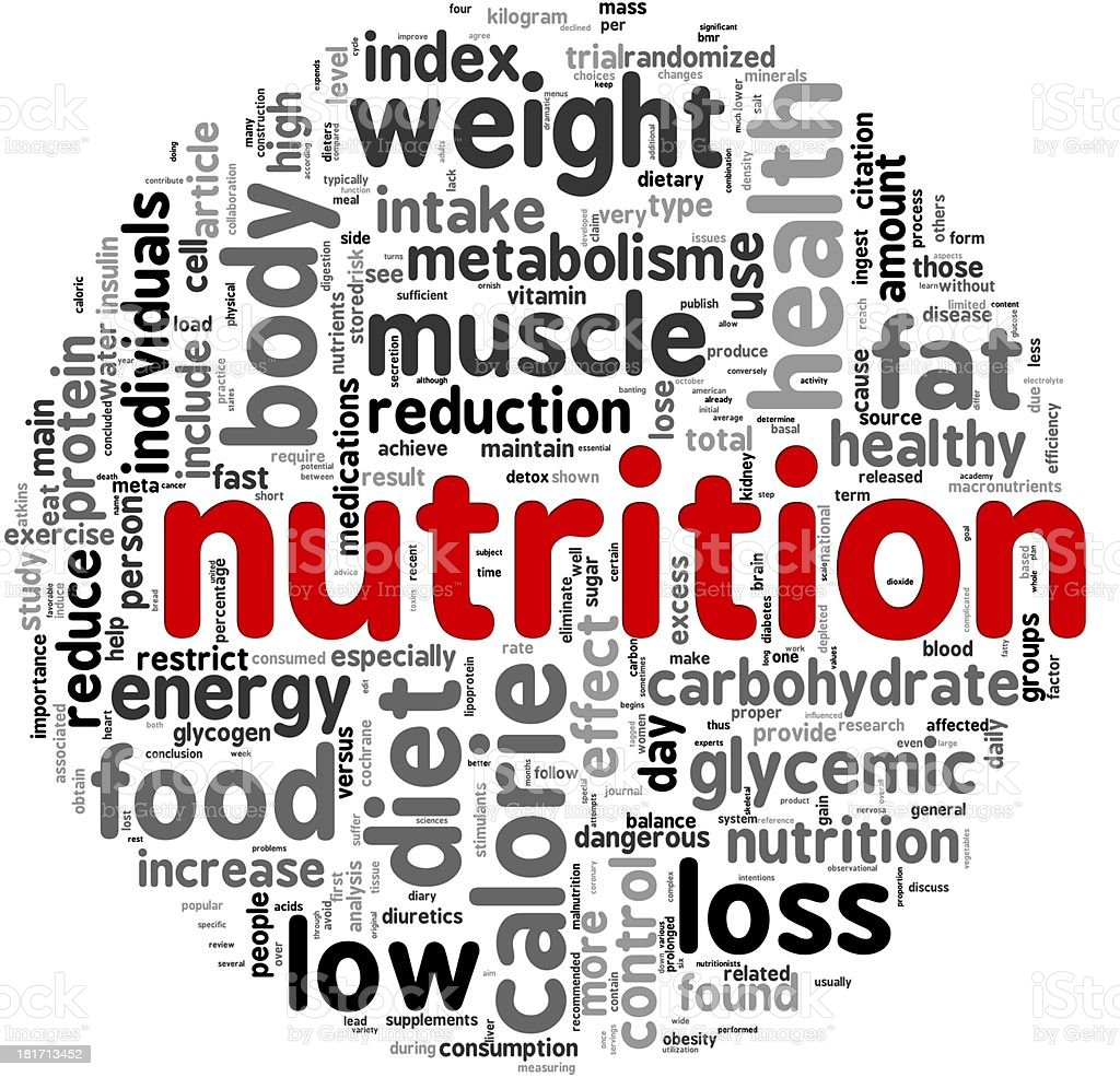 Nutrition concept in tag cloud royalty-free stock photo
