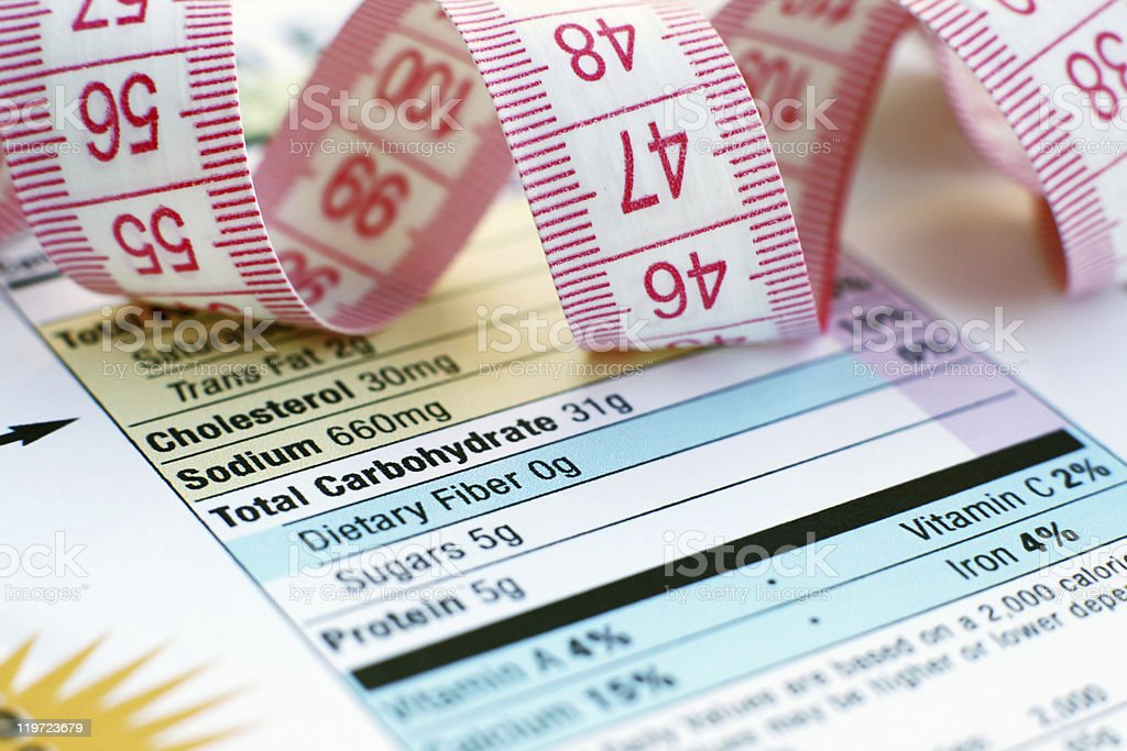 Nutrition facts guide on table with measuring tape stock photo