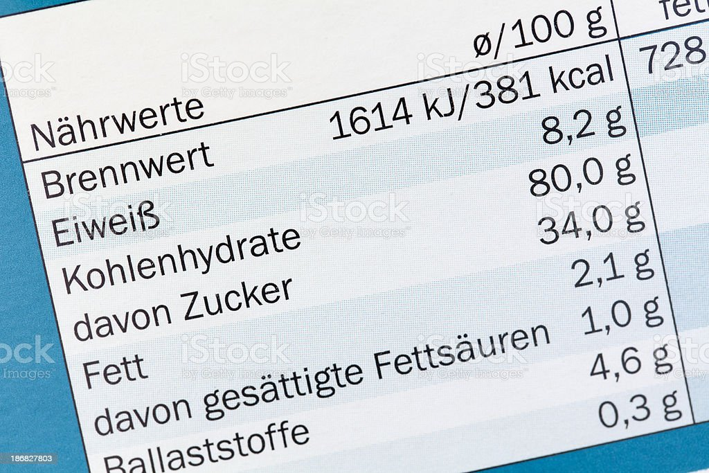 Nutrition facts in German stock photo