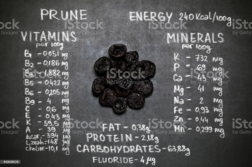 Nutrition Facts of prune stock photo