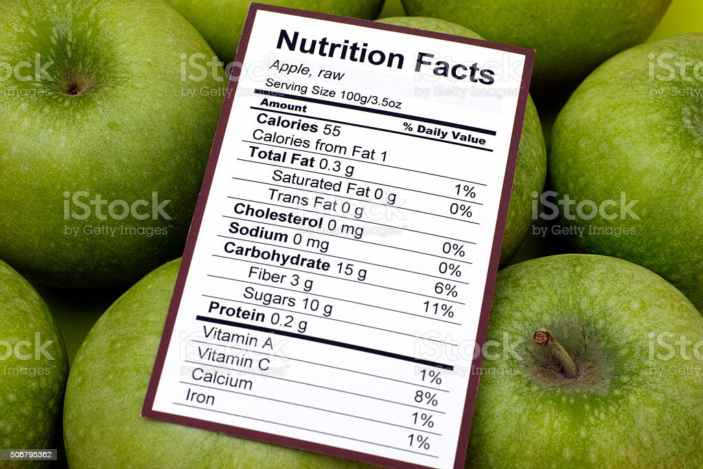 Nutrition facts of raw apples stock photo