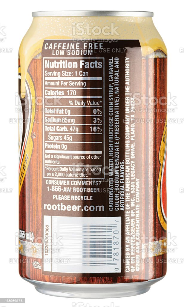 Nutrition Facts on A&W Root Beer Can stock photo