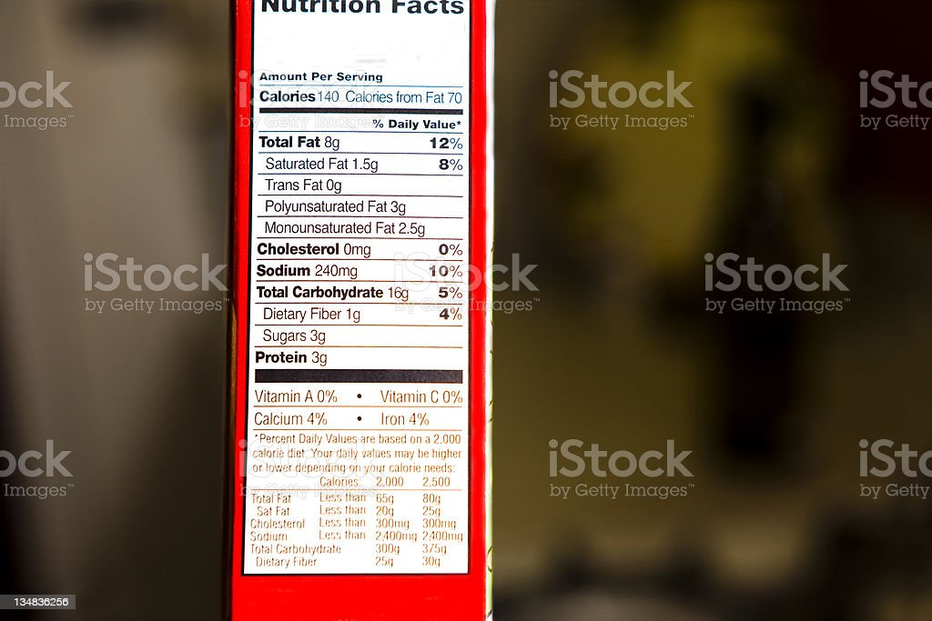 Nutrition facts on end of  box royalty-free stock photo