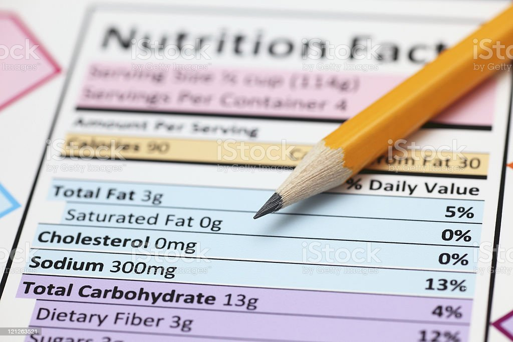 Nutrition facts. stock photo