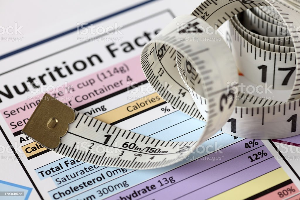 Nutrition facts with tape measure royalty-free stock photo