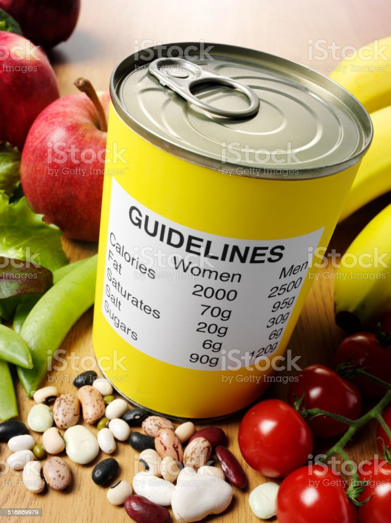Nutrition Guidelines on a Tin Can stock photo