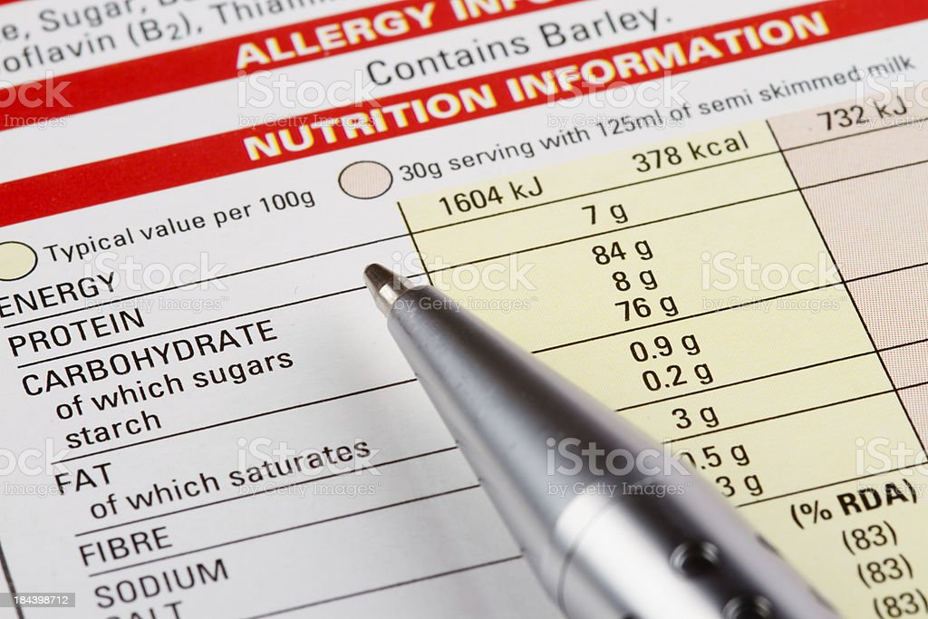 Nutrition Information Label royalty-free stock photo