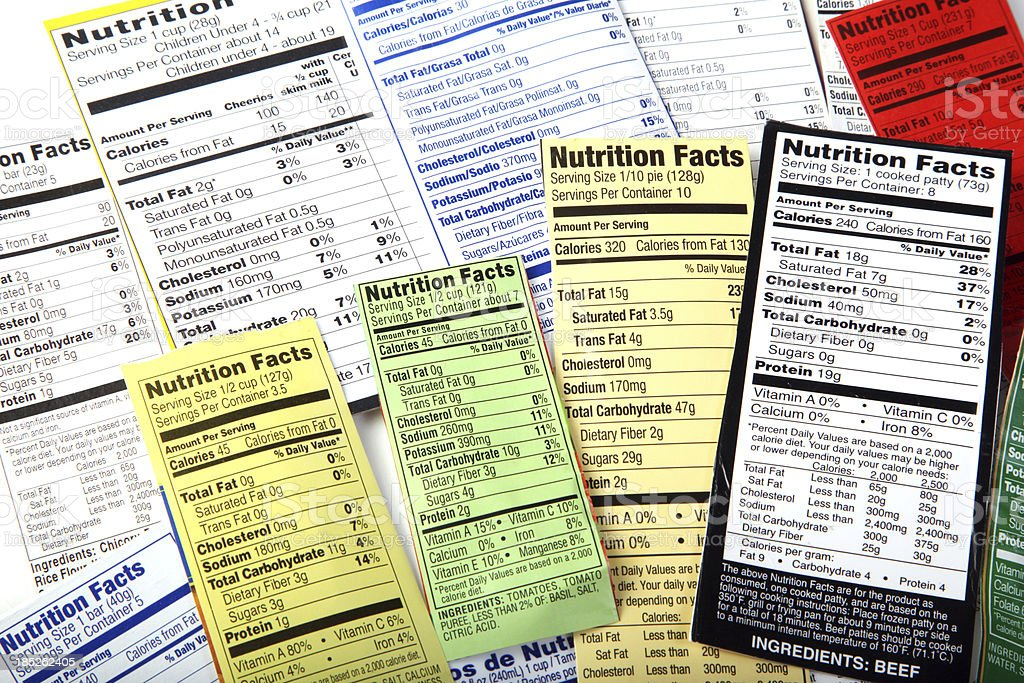 Nutrition Label giving information on good food choices. stock photo