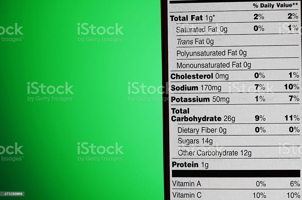 Nutrition Label royalty-free stock photo