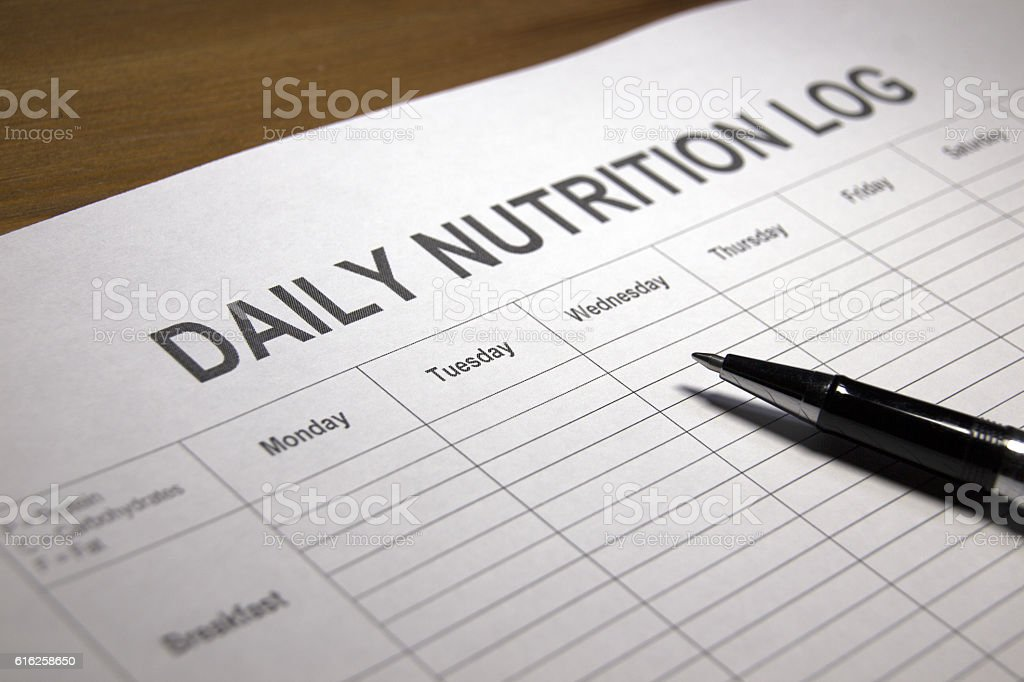 Nutrition Log stock photo