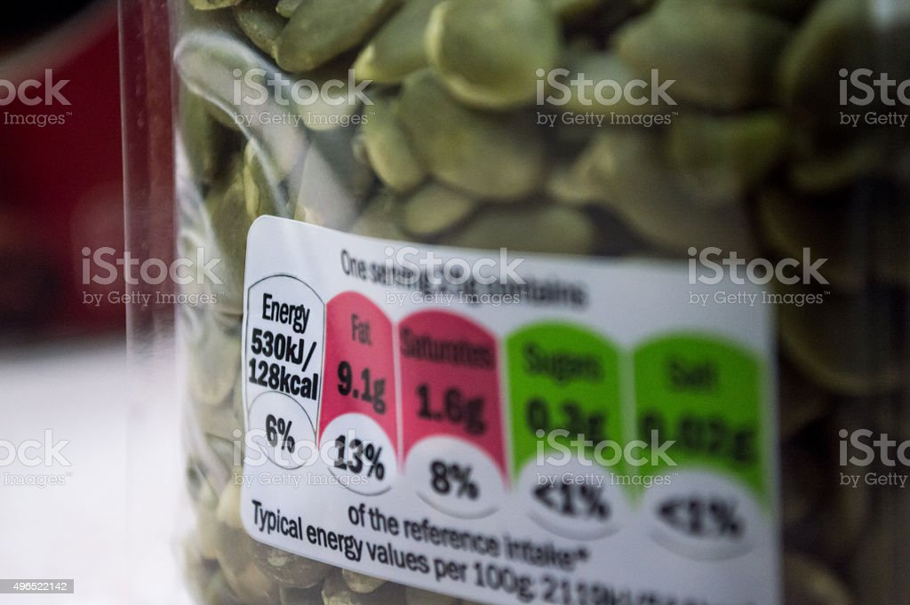 Nutritional Information/Label on a Plastic Package royalty-free stock photo