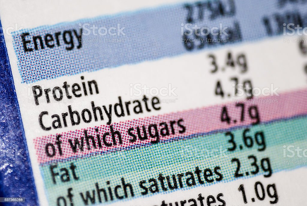 Nutritional label macro stock photo