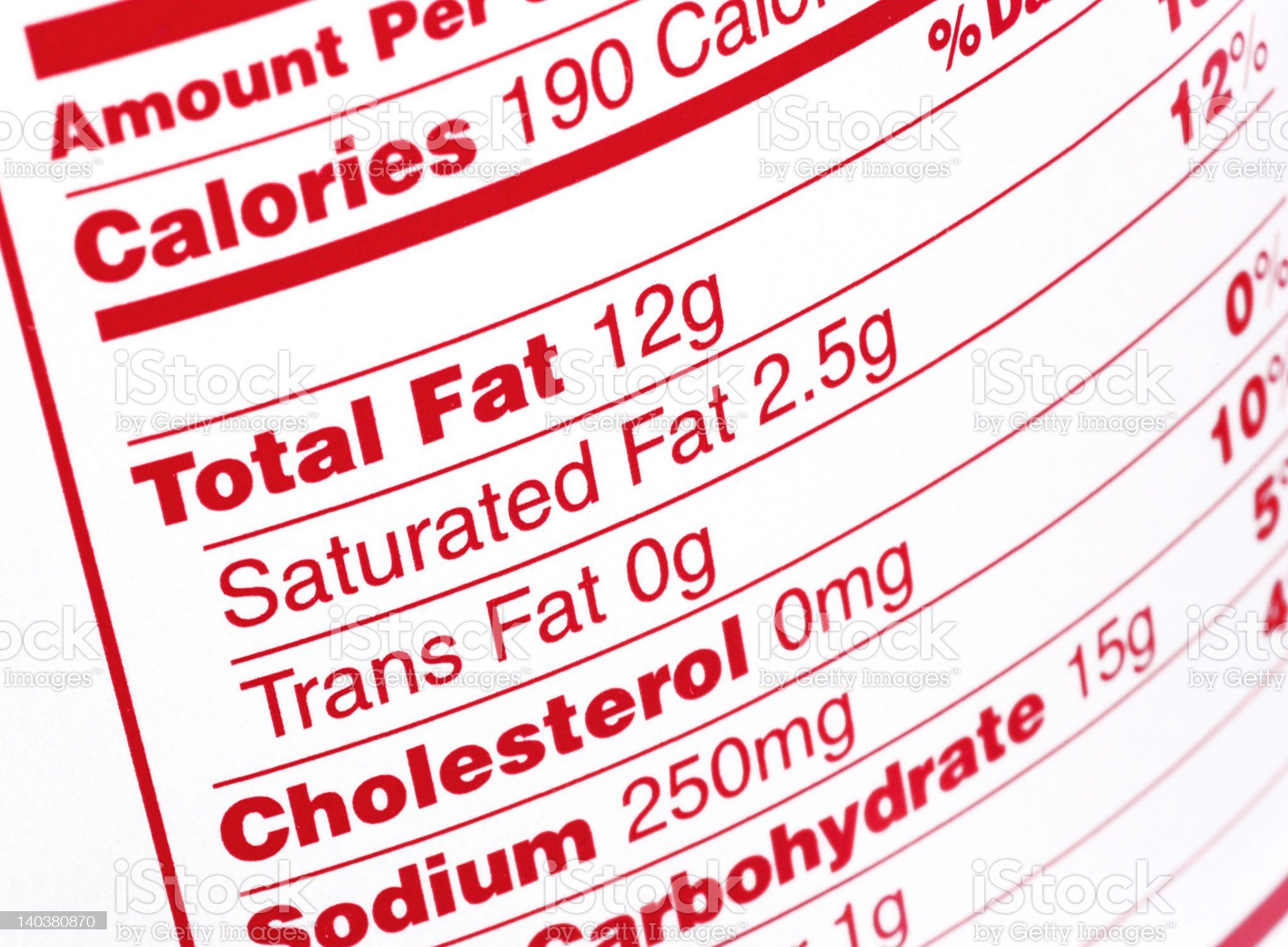Nutritional Label royalty-free stock photo
