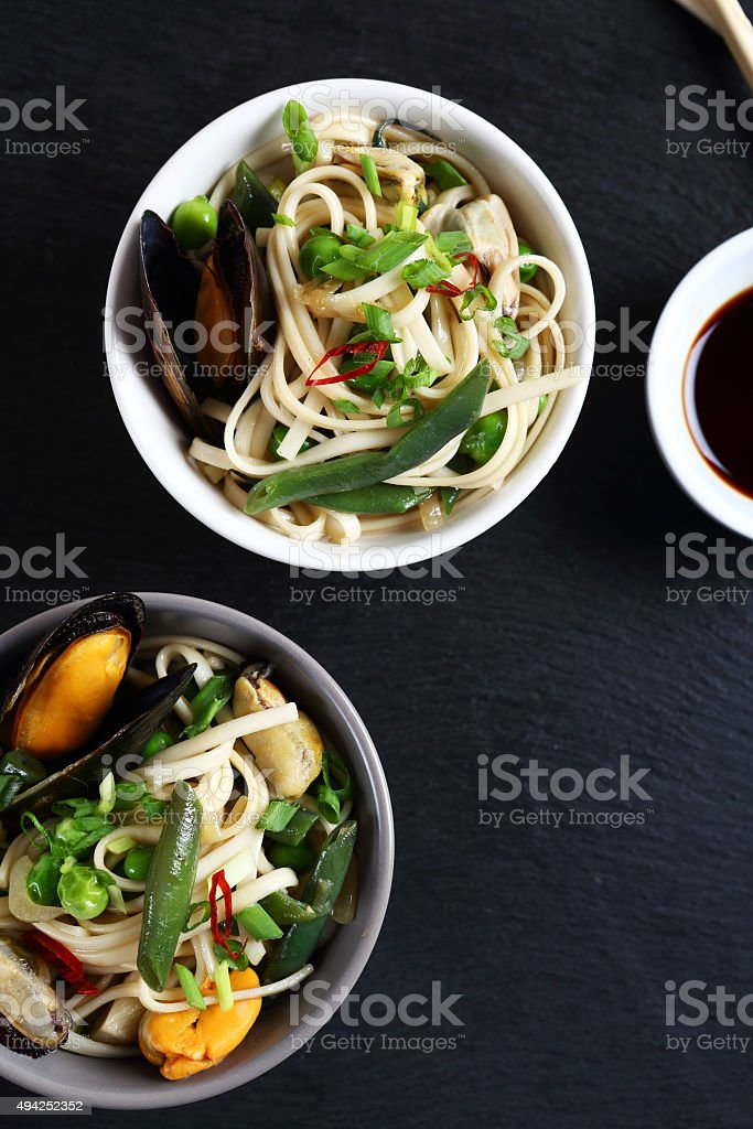 Nutritional noodles with seafood and green beans stock photo