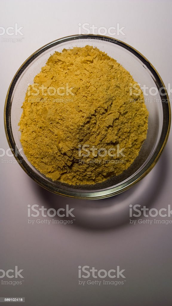 Nutritional Yeast in Prep Bowl - Vertical stock photo