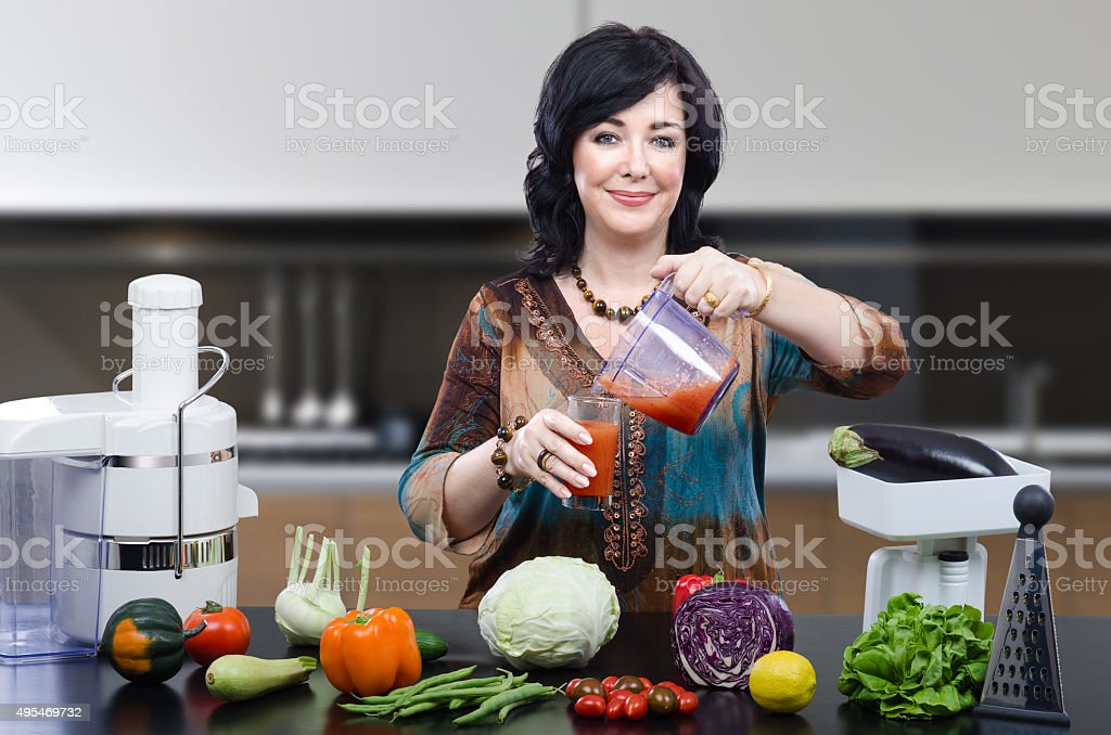 Nutritionist making detox drink stock photo