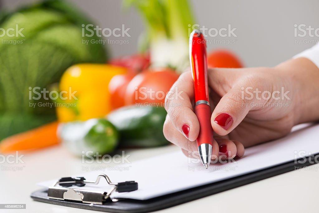 Nutritionist's desk stock photo