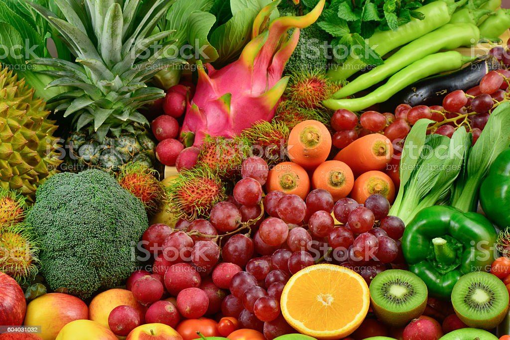 Nutritious Fruits and various fresh vegetables for healthy stock photo
