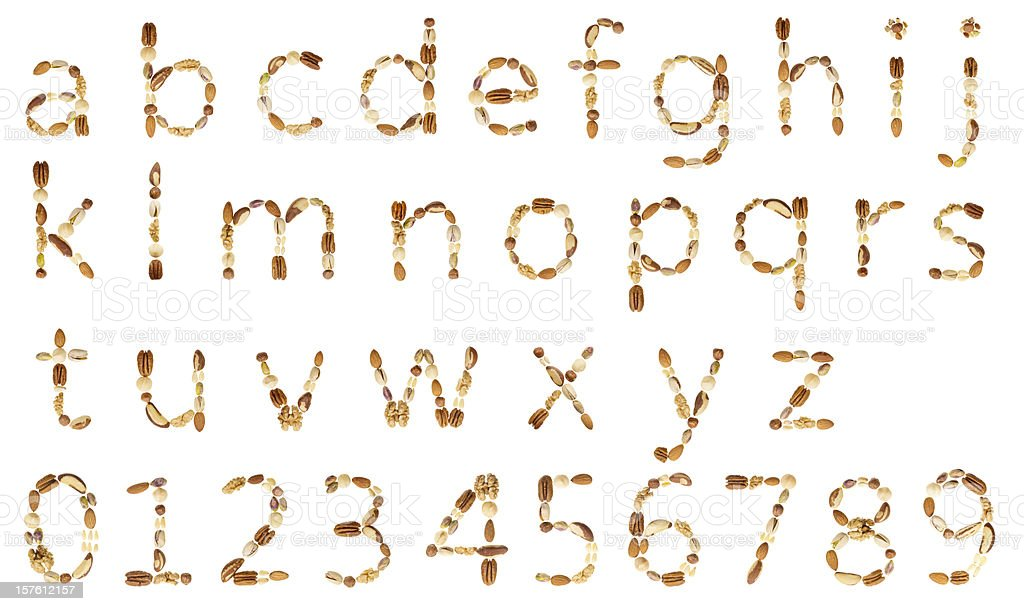 Nuts alphabet (LC) and digits stock photo