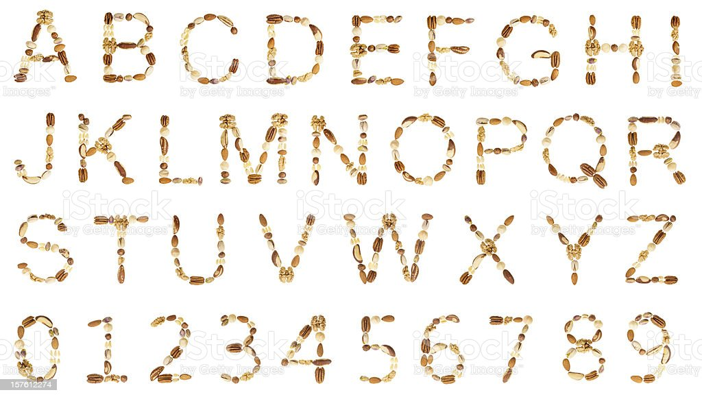 Nuts alphabet (UC) and digits royalty-free stock photo