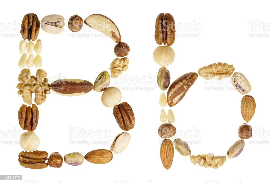 Nuts alphabet letter B, upper and lower case royalty-free stock photo