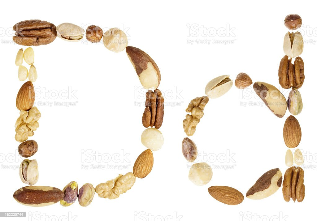 Nuts alphabet letter D, upper and lower case royalty-free stock photo