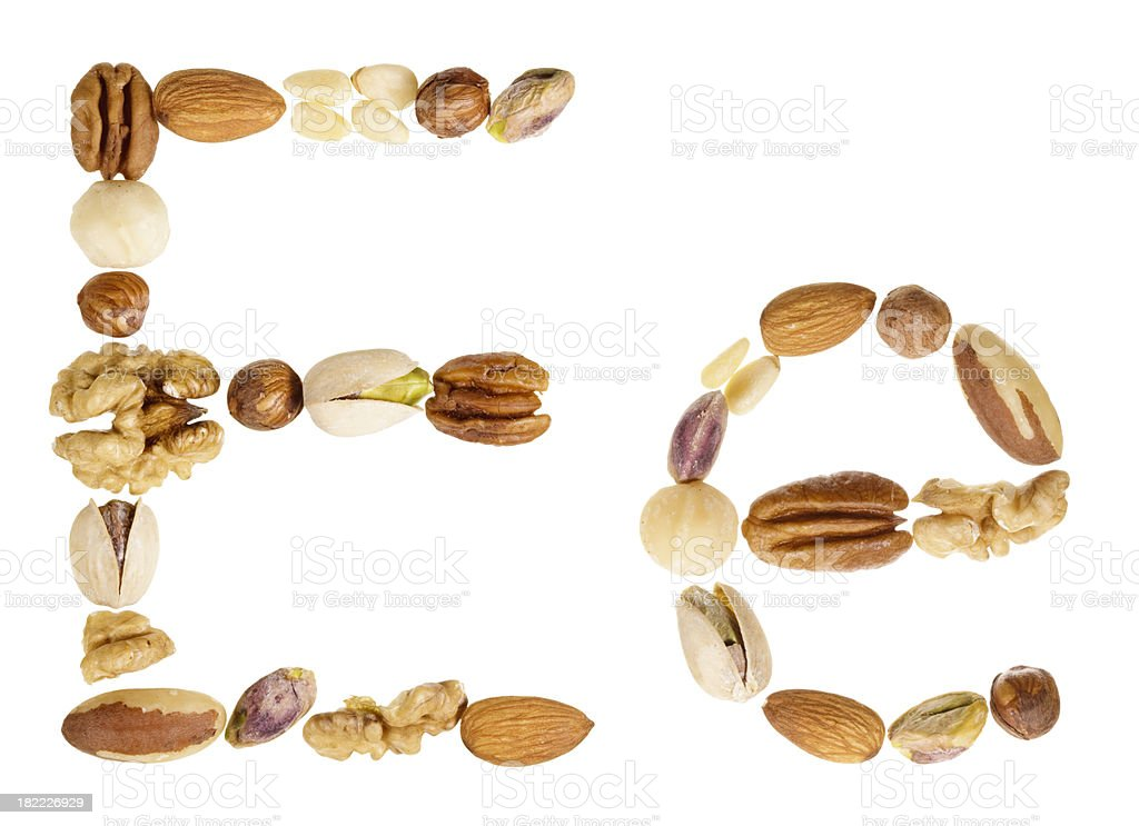 Nuts alphabet letter E, upper and lower case royalty-free stock photo