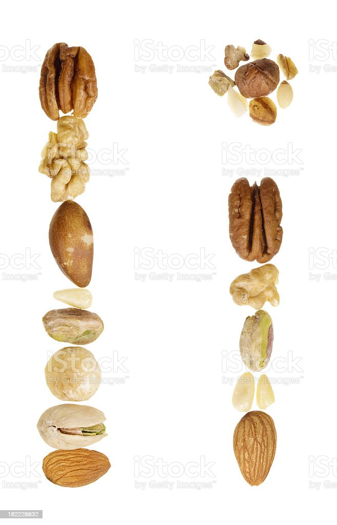 Nuts alphabet letter I, upper and lower case royalty-free stock photo