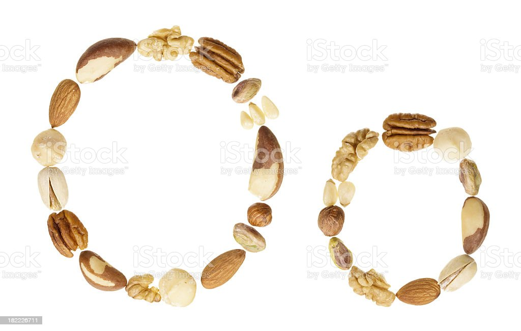 Nuts alphabet letter O, upper and lower case royalty-free stock photo