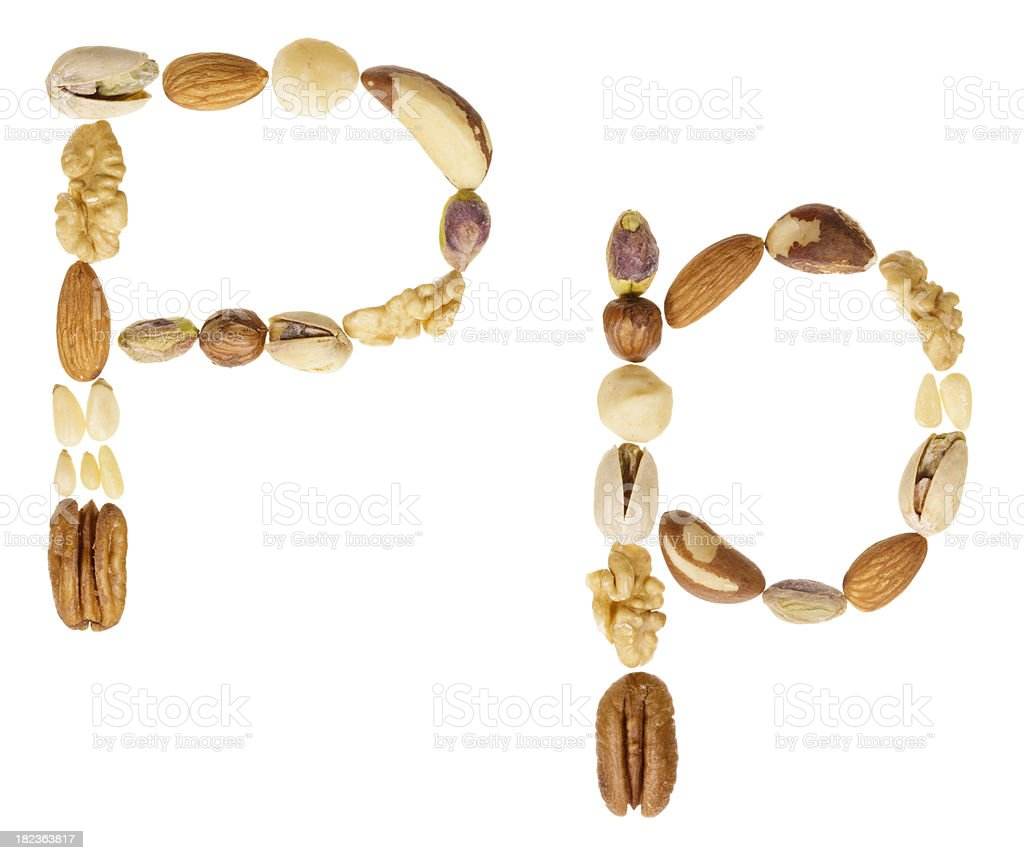 Nuts alphabet letter P, upper and lower case royalty-free stock photo