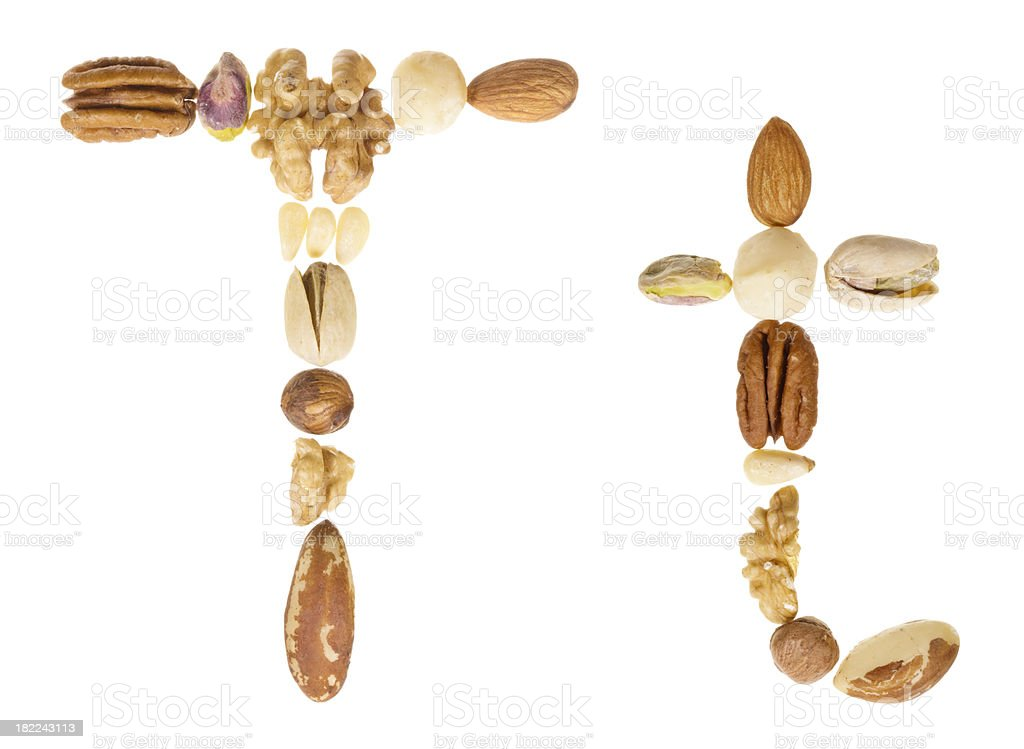 Nuts alphabet letter T, upper and lower case royalty-free stock photo