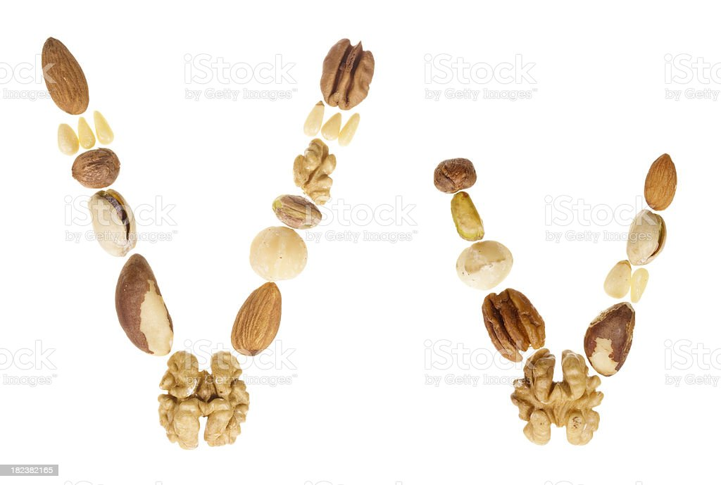 Nuts alphabet letter V, upper and lower case royalty-free stock photo